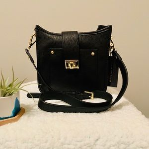Steve Madden Black Crossbody Bag with gold accents